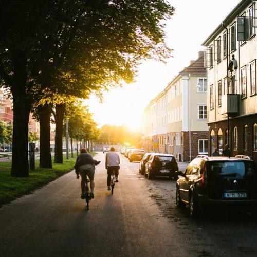 Två cyklister i solnedgången